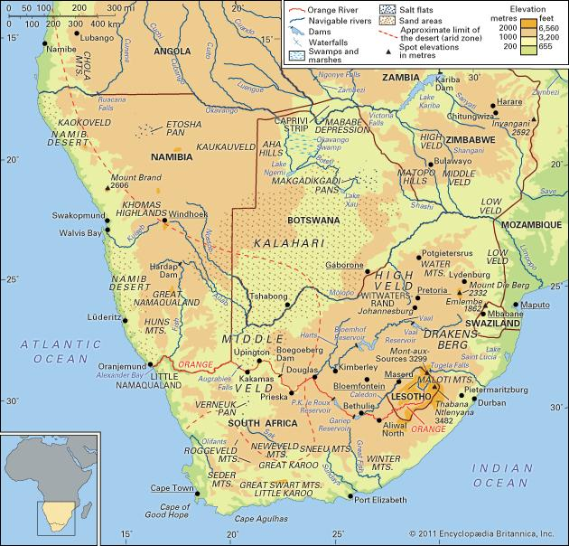 Map of Southern Africa with the Kalahari Desert